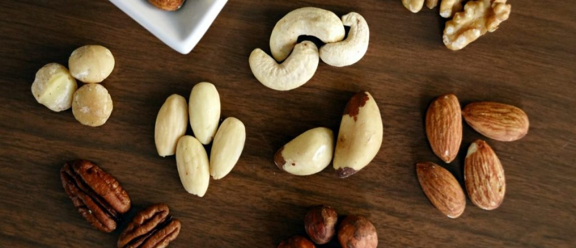 different types of nuts on table